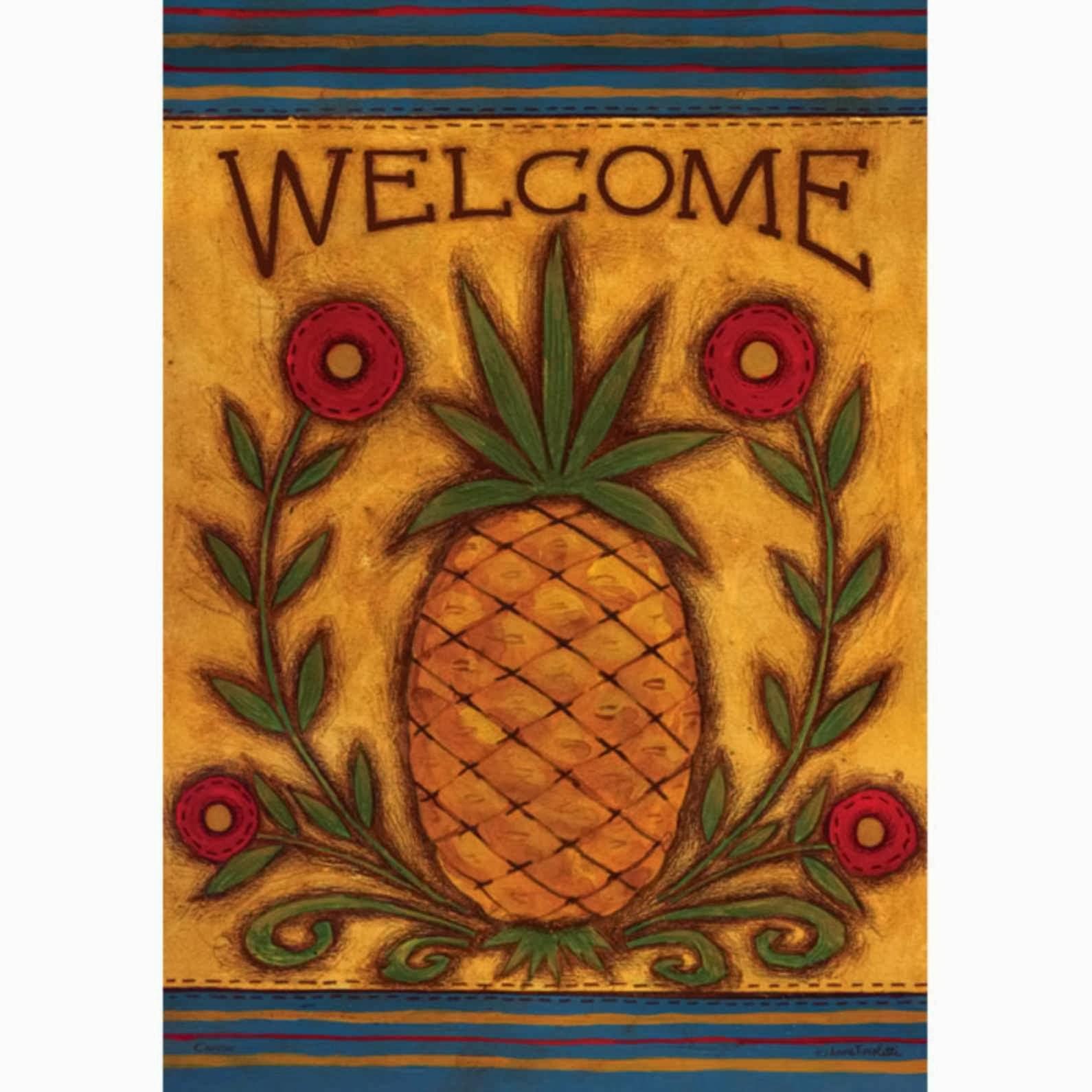 Folk Pineapple Garden Flag