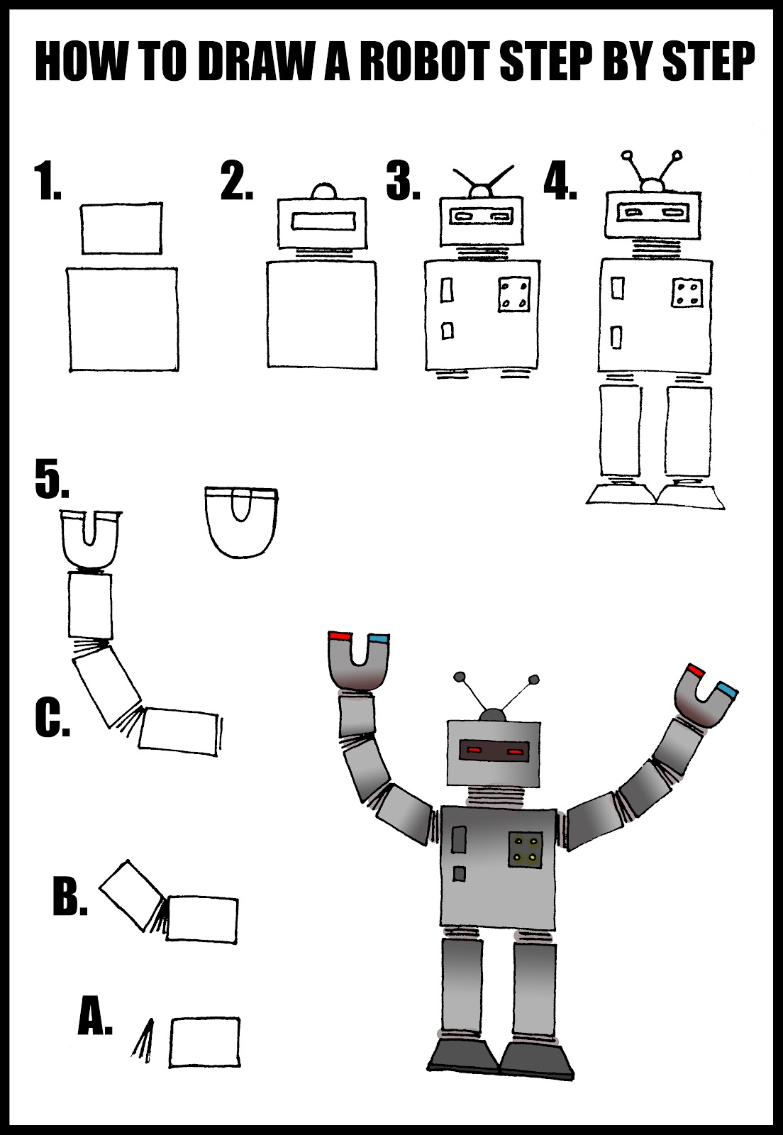 Daryl hobson artwork how to draw a robot step by step