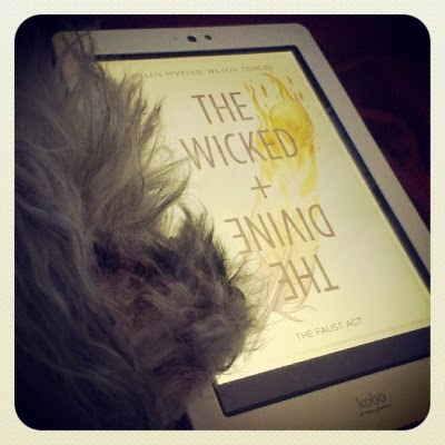 Murchie lays on his side with his chin on my Kobo. Its screen shows the cover of The Wicked + The Divine, featuring a golden feather against a white background.