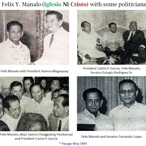 Felix Y. Manalo with some politicians in the Philippines. Up to the present time, Iglesia Ni Cristo is heavily involved in Philippine politics