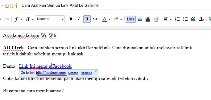 Cara Arahkan Semua Link Aktif ke Safelink