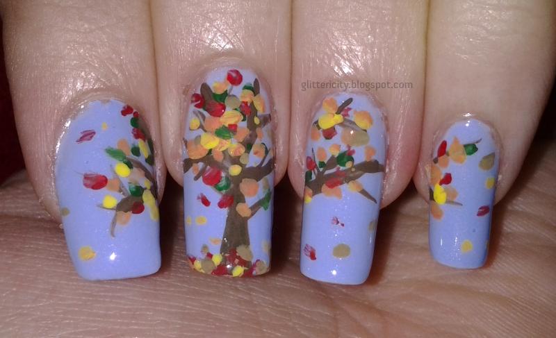Glittericity Autumn Tree Nail Art