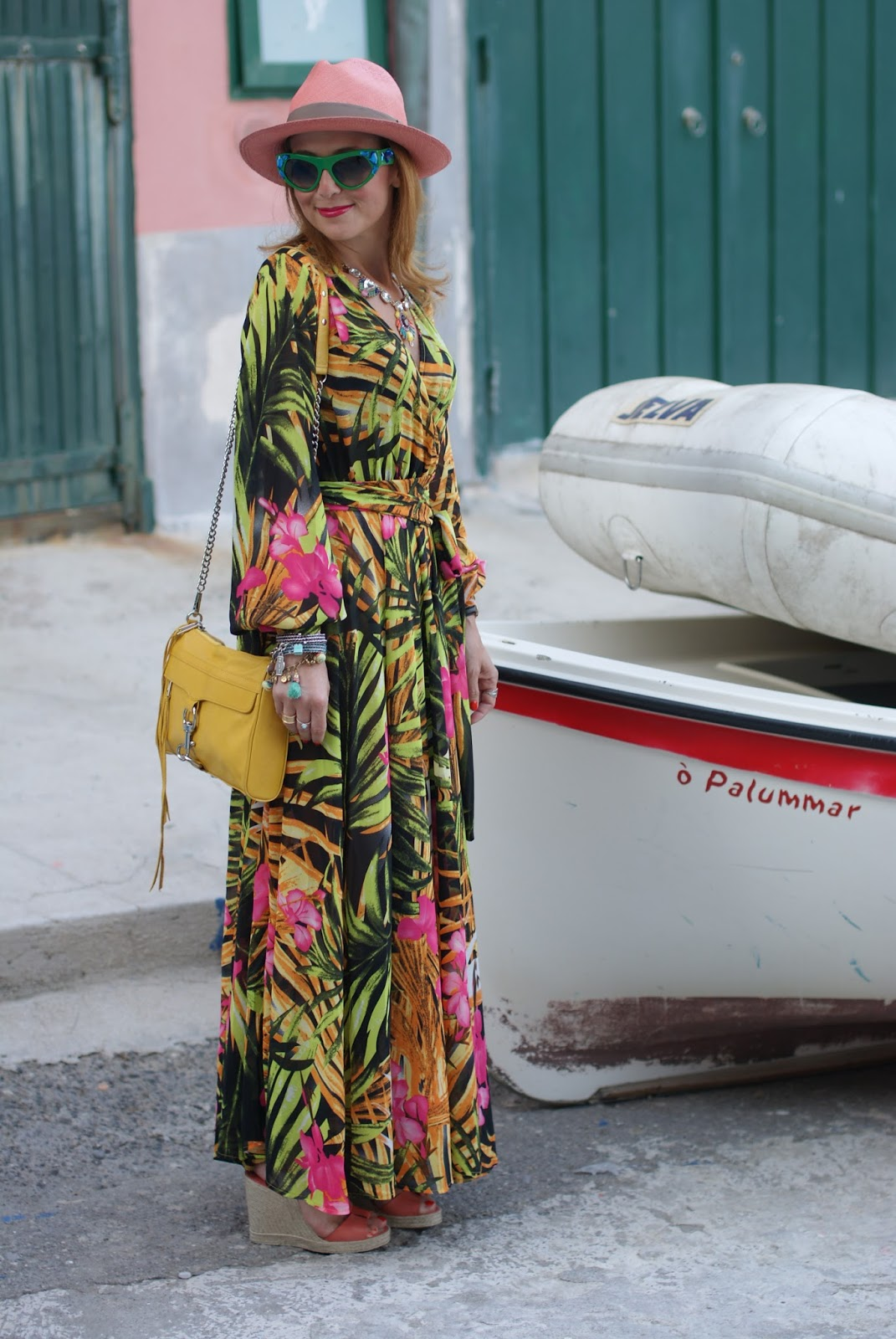 prada voice sunglasses found on giarre dot com, tropical print chiffon maxi dress, ecua-andino hat for a summer boho style on Fashion and Cookies fashion blog, fashion blogger style