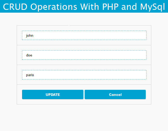 PHP CRUD operations with MySQL