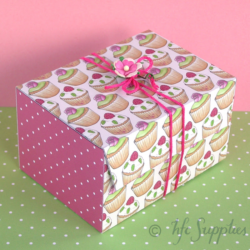 Cupcakes and Roses printable gift box hazelfishercreations