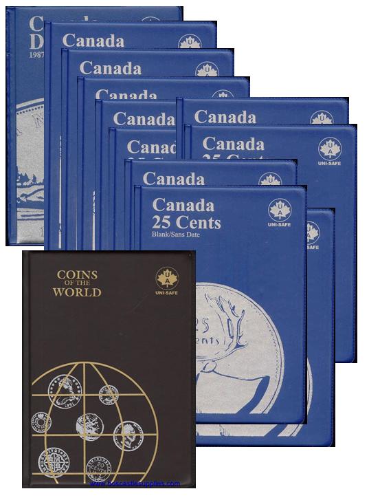 UNI-SAFE CANADIAN  25  CENTS  FOLDER  ALBUM  BLUE #1 1937-1999