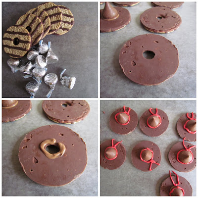 how to make witch hat cookies - chocolate pinwheel cookie upside down with hersheys kiss and red frosting bow