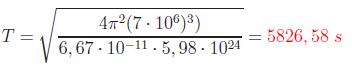 El periodo de giro de un satélite utilizando la tercera ley de Kepler