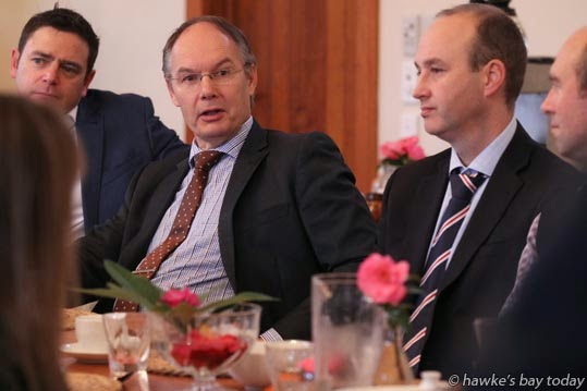 Centre: Ken Sutheland, CEO, Unison, asks a question about electricity - David Parker, deputy leader, finance spokesperson, shadow attorney-general,  Labour Party, speaking at a breakfast at Ten Twenty Four, Hastings, hosted by Anna Lorck, candidate, Tukituki electorate. photograph