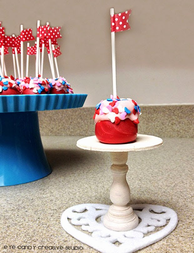 mini cake stand, marshmallow pops, blue cake stand, heart dollie, washi tape flags