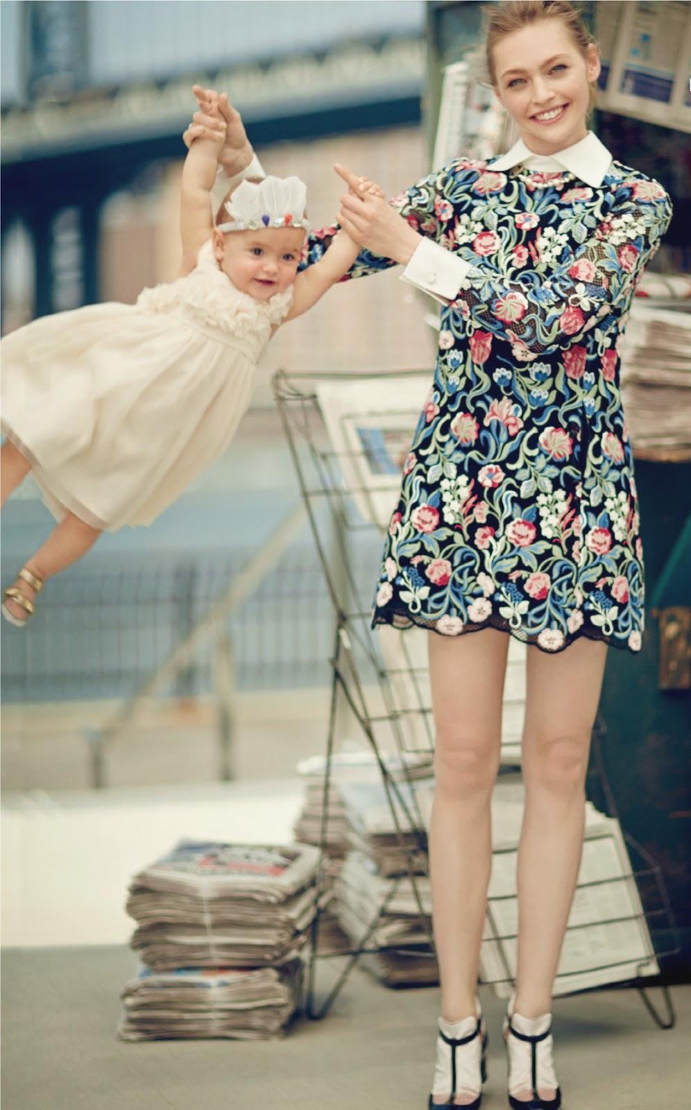 Sasha Pivovarova with Mia in Vogue US August 2013 (photography: Boo George) via fashioned by love british fashion blog