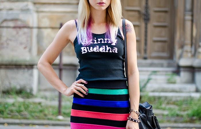 skinny buddha t-shirt striped rainbow skirt