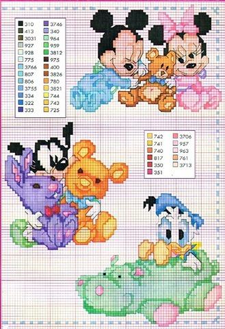 mais gráficos em ponto cruz dos bebês disney para bordar em