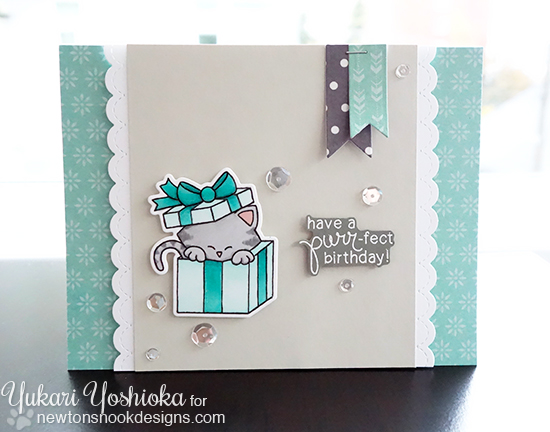 Cat Birthday Card by Yukari Yoshioka | Newton's Christmas Cuddles Stamp set by Newton's Nook Designs
