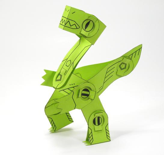 Raptor Poplock Paper Toy