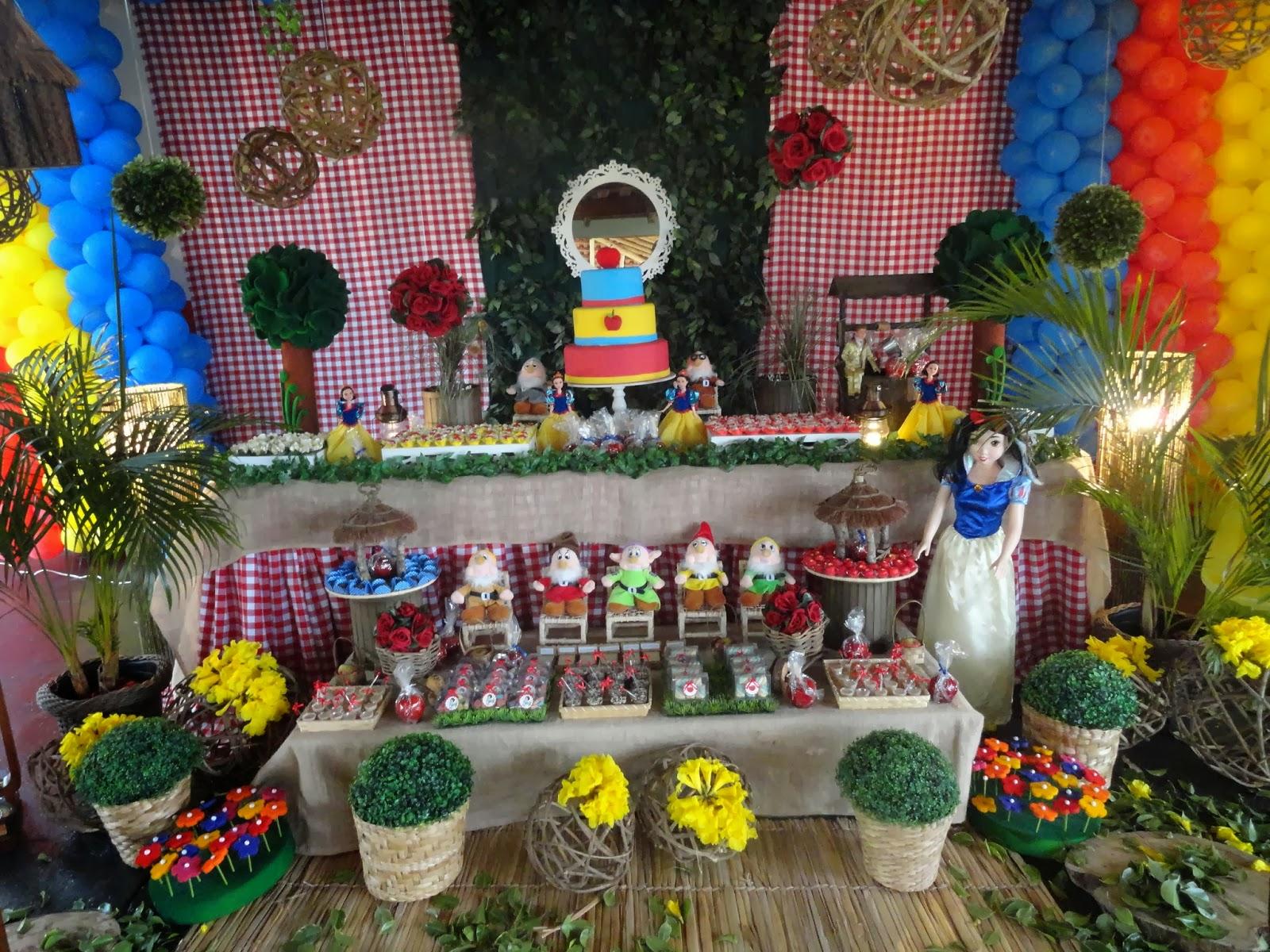 decoracao branca de neve festa infantil : decoracao branca de neve festa infantil: infantil TEM FESTAS- 34236880: Branca de neve- Mesa Rustica