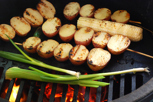 grilled potato salad, vegetarian grill dish, BBQ side dish