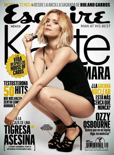 Kate Mara wears a black swim look for the Esquire Mexico July 2014 cover