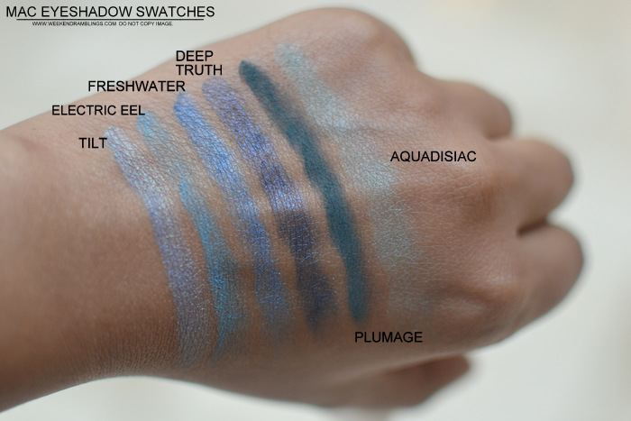 MAC Cosmetics Makeup Eyeshadows Swatches - Tilt Electric Eel Freshwater Deep truth Plumage Aquadisiac Indian Beauty Blog