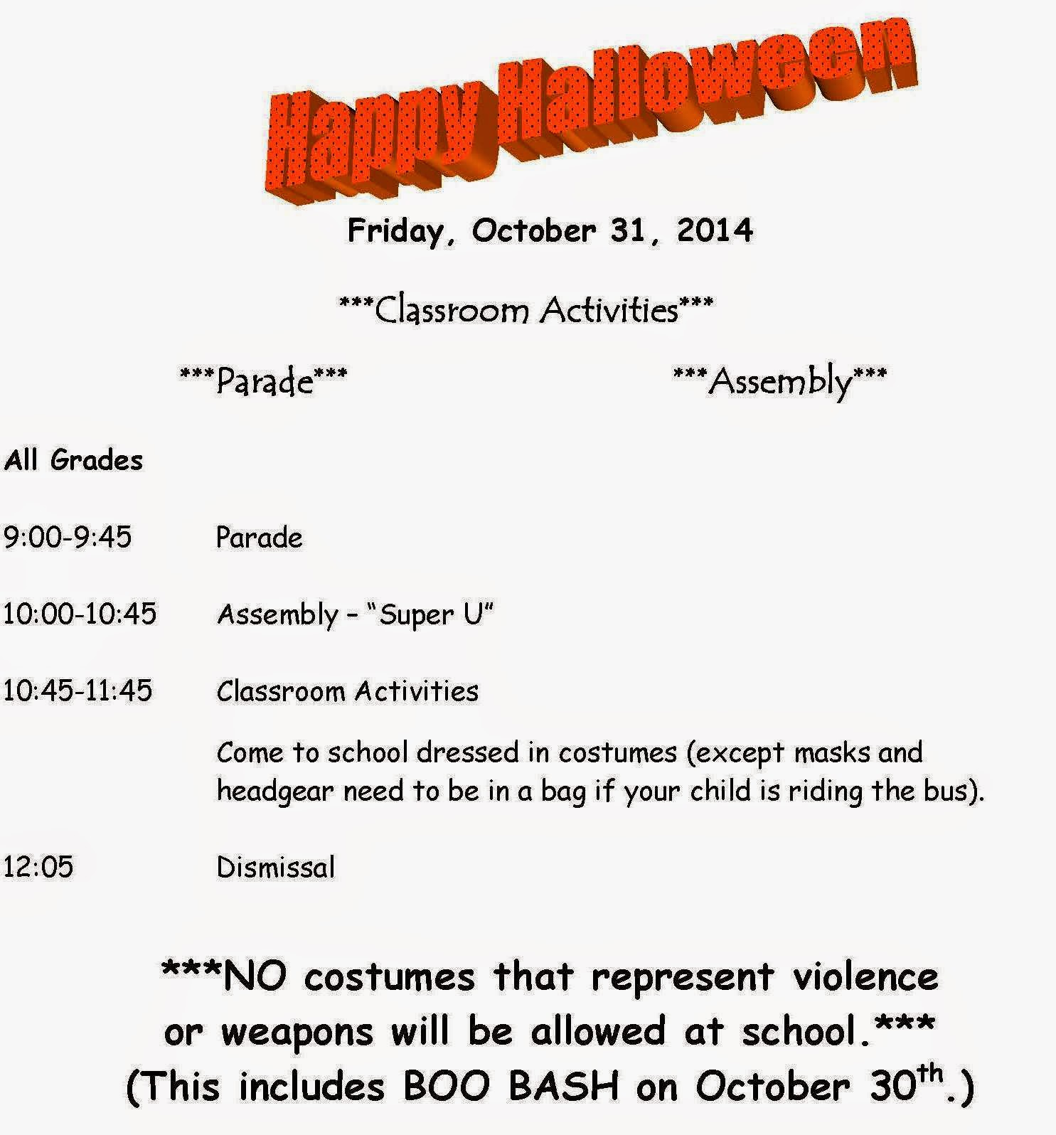halloween 2014 school schedule