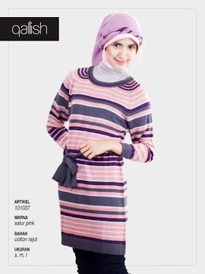 Koleksi Qallish Busana Muslim Salur Pink