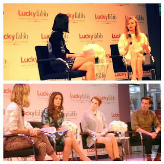 Kate Bosworth shares at Lucky FABB east coast New York City conference, fashion and beauty blogger conference, Kate Bosworth collaborates with Topshop, Kate Bosworth wearing Stella McCartney, Kate Bosworth white booties and oversized sweater, Kate Bosworth talks fashion and style in NYC, Aliza Licht DKNY, Aliza Licht interview DKNY PR girl, panel of fashion experts gives advice at Lucky Magazine conference