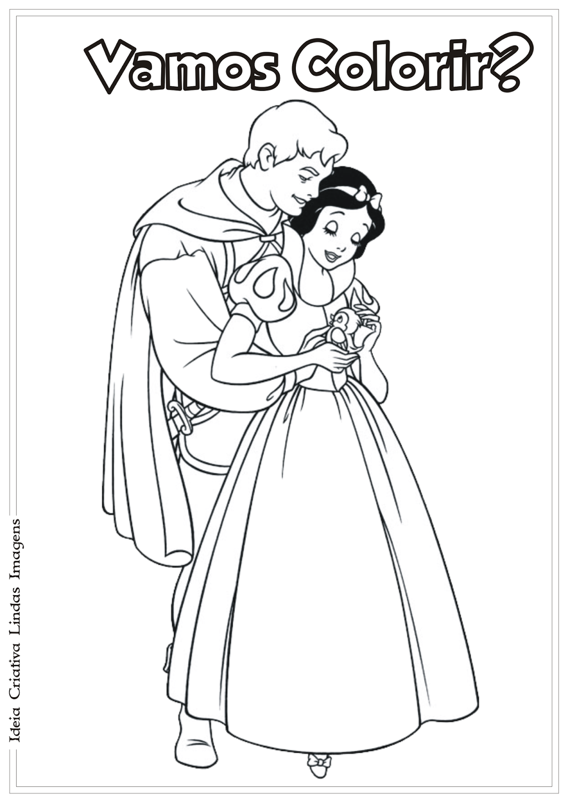 Branca de Neve desenho para colorir