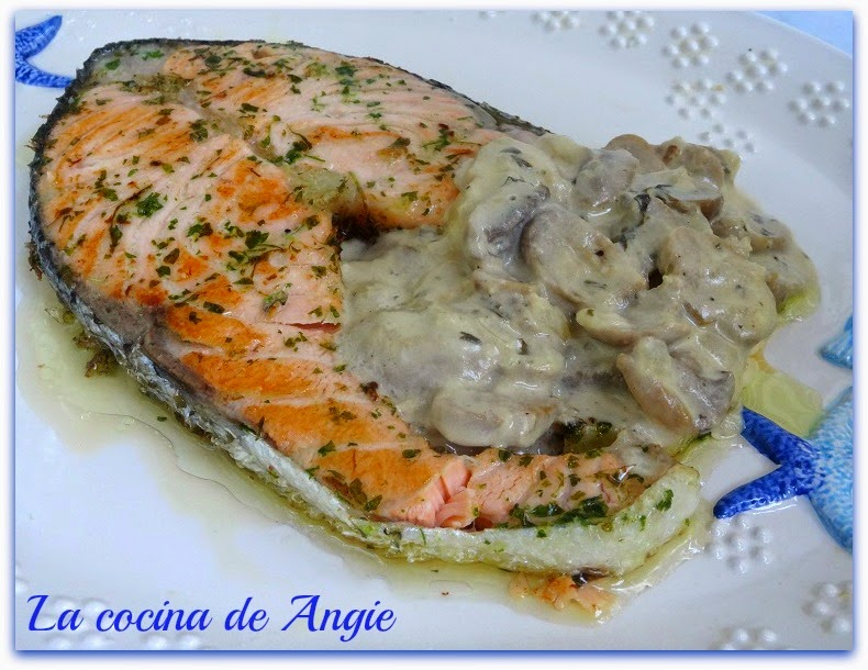Salm n con salsa de champi ones - Salmon con champinones ...
