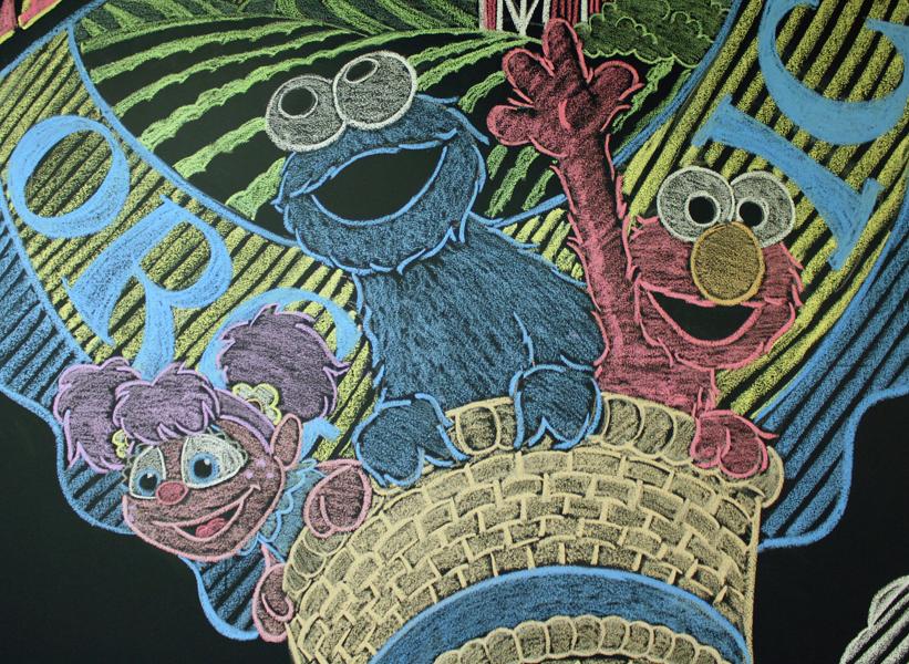 e-doodles: Sesame chalk mural