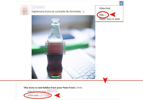 Puteti sa va dezabonati de la stirile publicate de o pagina Facebook printr-un simplu UnLike dat din fluxul de stiri