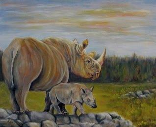 """""""Savanna Overlook"""", rhinos in oils"""
