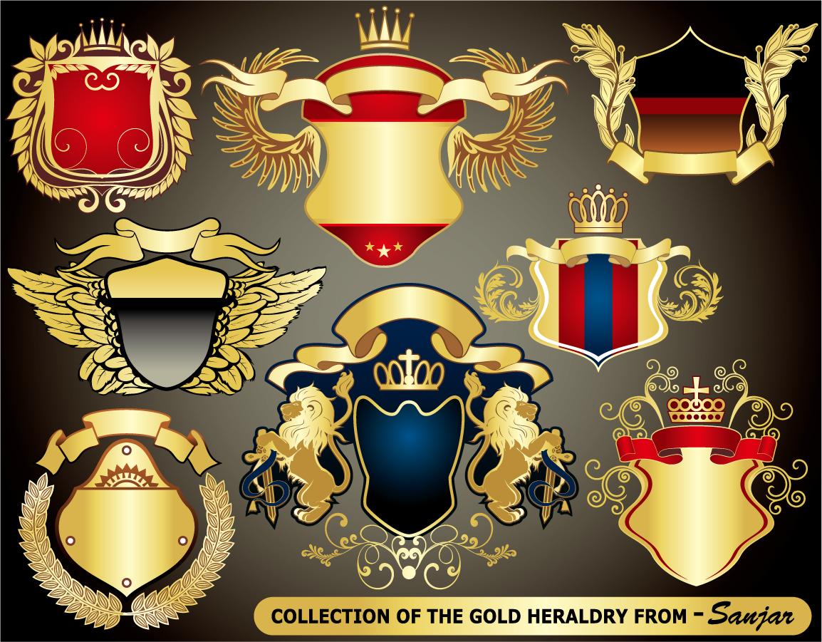 豪華な紋章のデザイン テンプレート european heraldry collection vector イラスト素材