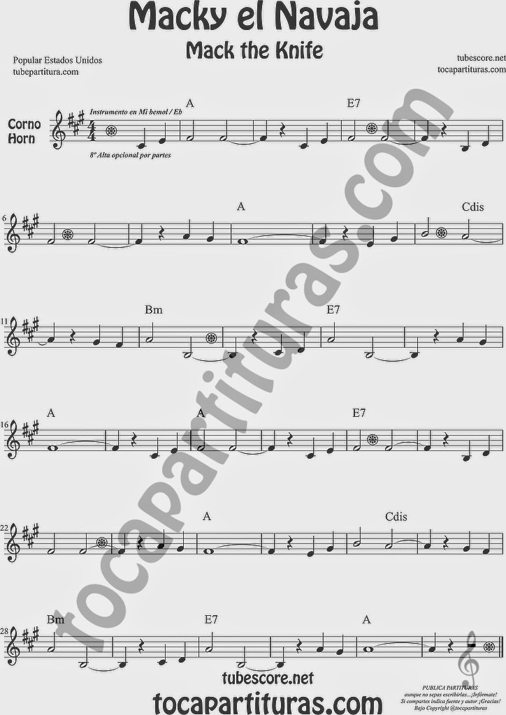Macky el Navaja Partitura de Trompa y Corno Francés en Mi bemol Sheet Music for French Horn Music Scores Mack the Knife