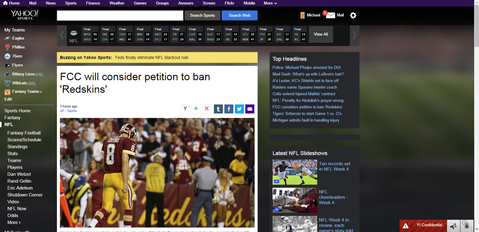 yahoo sports pages leaking browser tab with links to backyard