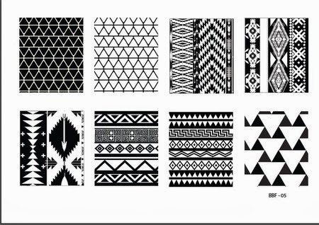 Lacquer Lockdown - stamping, nail art, easy nail art ideas, easy nail art, cute nail art, diy nails, diy nail art, indie plate maker, new stamping plates 2014, new nail art plates 2014, new nail art image plates 2014, new stamping plates, LojaBBF, Loja BBF, full nail images, tribal pattern, abstract pattern, tribal, native american, american indian, complex patterns, BBF 05