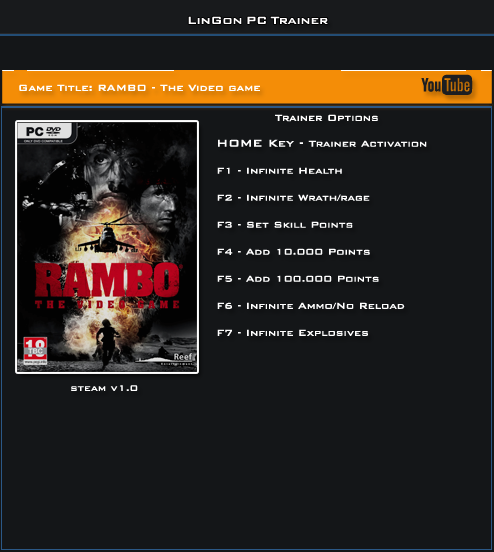 RAMBO The Video Game v1.0 Steam Trainer +7 [LinGon]