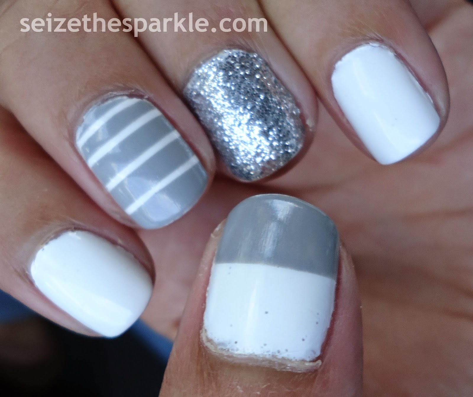 Gray, White, and Silver Skittle Manicure