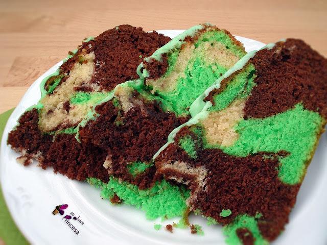 marmolada, chocolate, vainilla, chocolate y vainilla, bizcocho mármol, bizcocho marmolado verde, tarta marmolada verde,