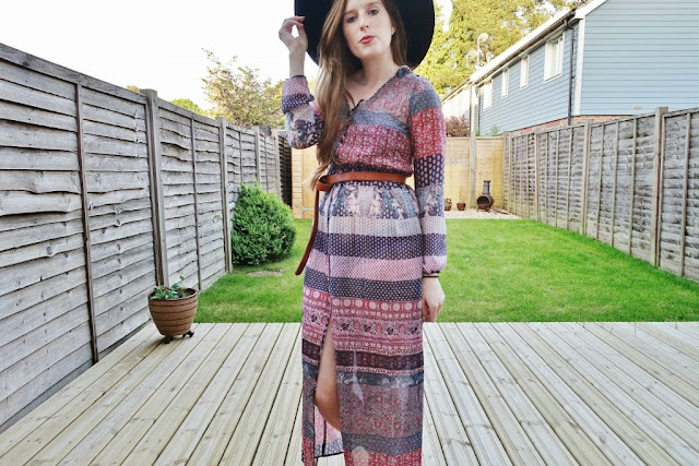 asos maxi dress boho side split
