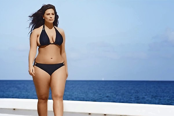 Form in a bikini: Sports Illustrated magazine first published advertisement with plus-size model