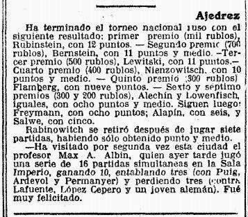 Recorte de prensa en la Vanguardia sobre Max Adolf Albin, 15 de octubre de 1912