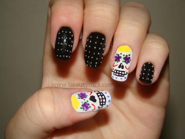 unhas caveira mexicana, skull nail art halloween, spike nas unhas,