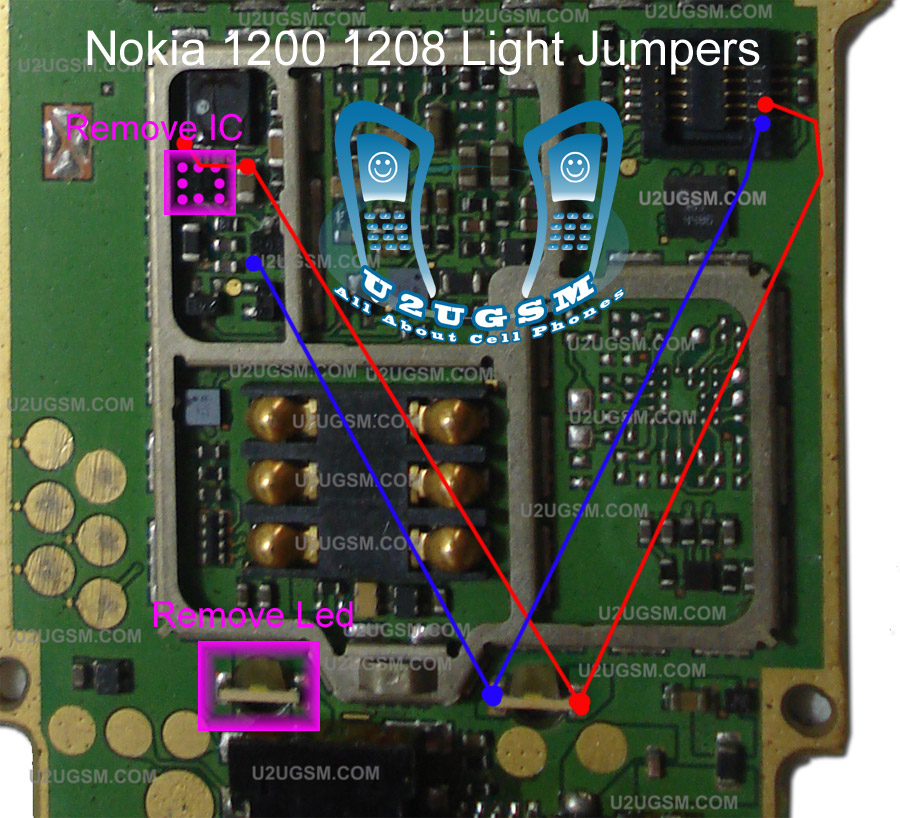 Nokia 1200 Light Problem Solution without Light IC with Jumpers   Cellphone Hardware Picture Help