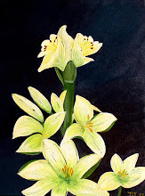Amaryllis en Lelie 40cm x 50cm van Acryl