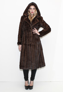 Vintage dark brown Pierre Balmain mink fur coat with hood