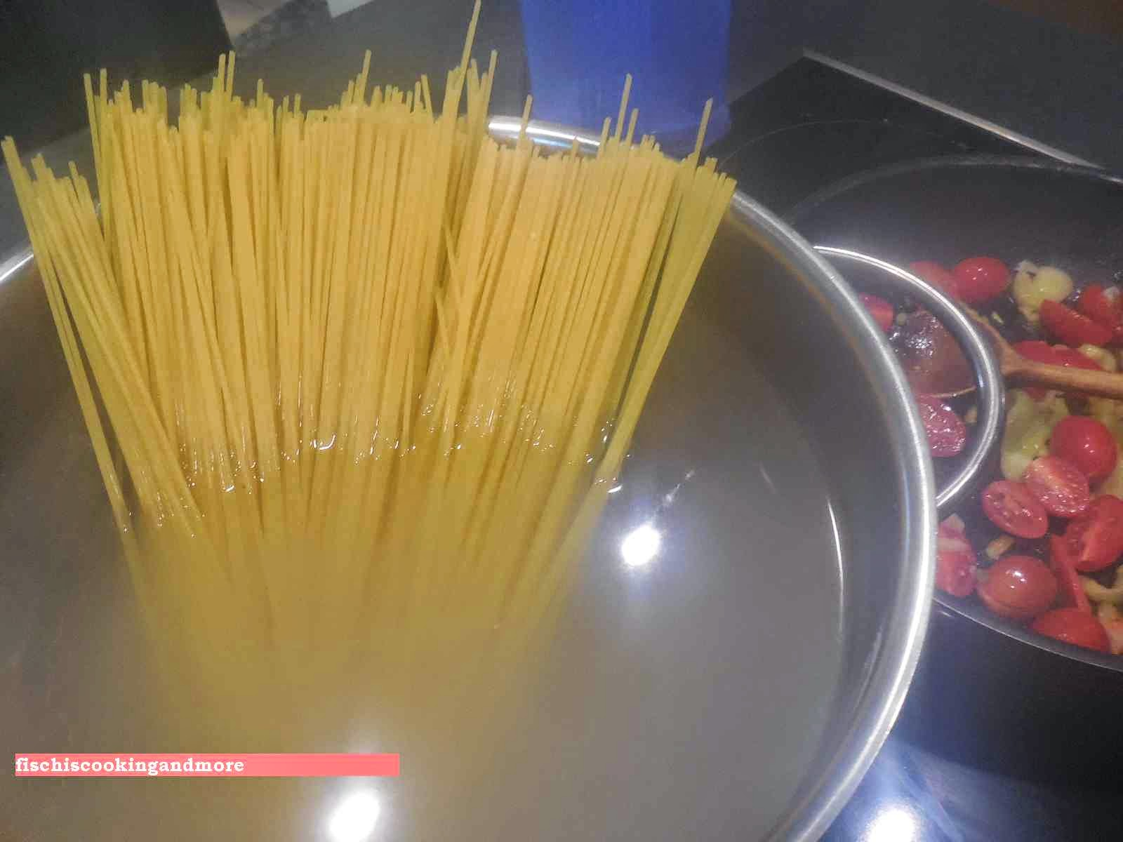 fischiscooking, spaghetti gemüse bärlauch