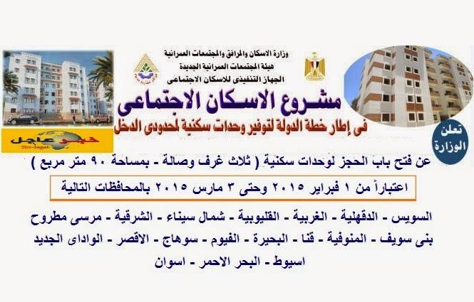"""اليوم الاسكان """" تفتح باب الحجز لـ 20 الف وحدة سكنية بـ 18 محافظة بالجمهورية """""""