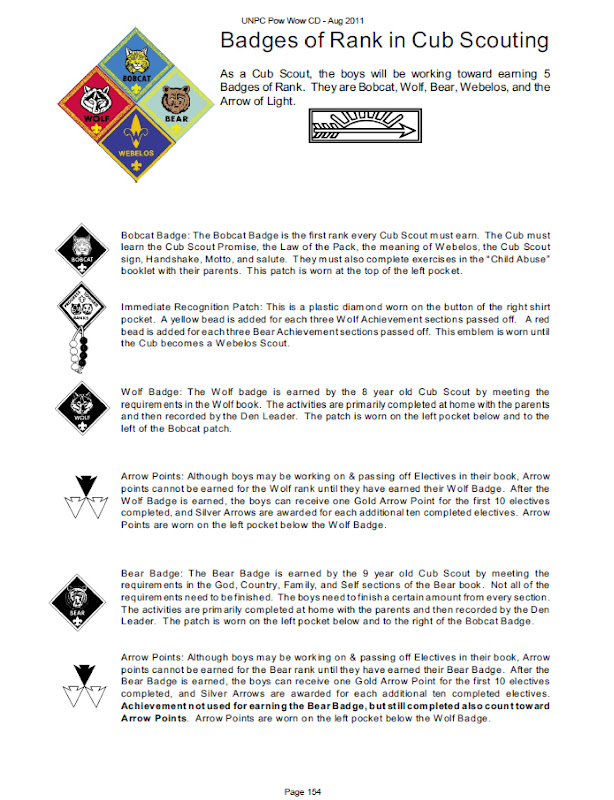 Found on page 154 Badges of Rank in Cub Scouting