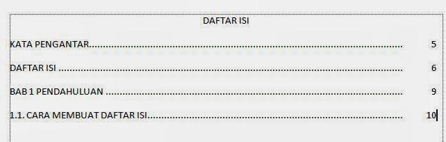 cara mudah membuat daftar isi di microsoft word
