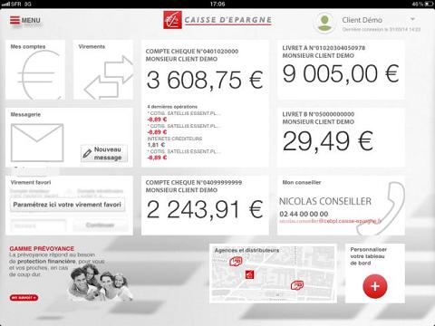 App Caisse d'Épargne sur iPad